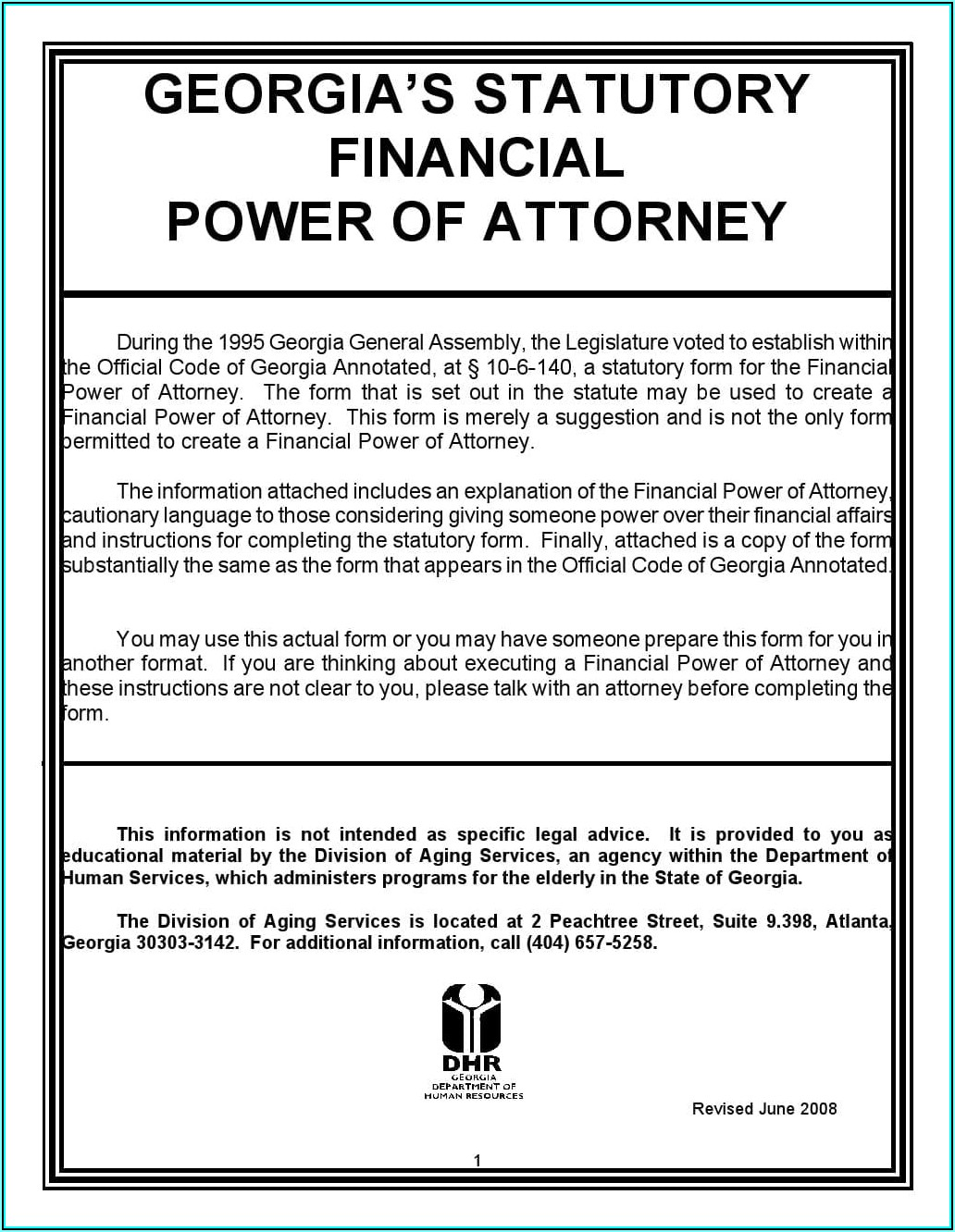 Free Power Of Attorney Template Georgia