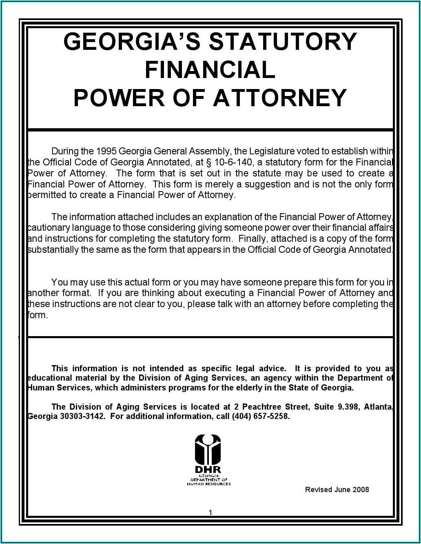Free Power Of Attorney Template Georgia