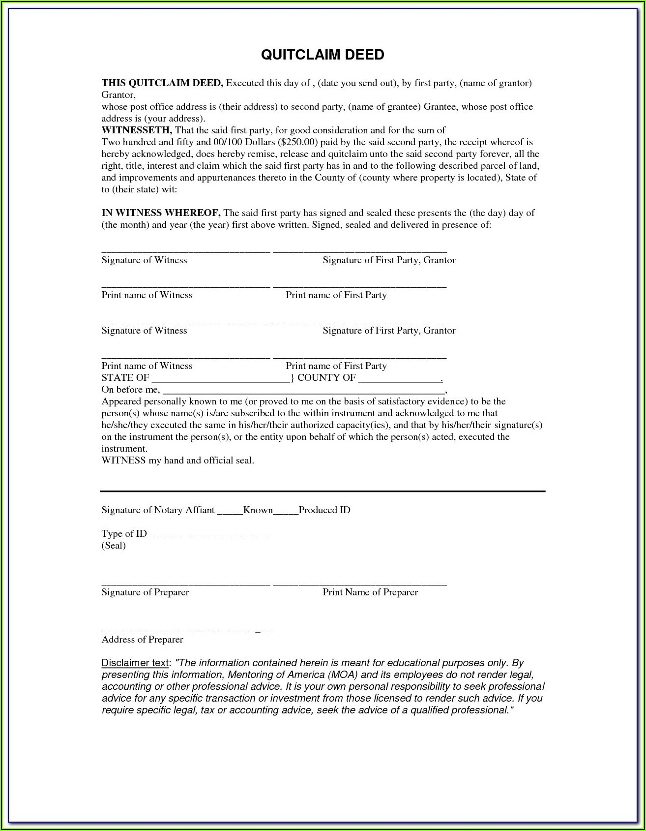 Free Printable Blank Quit Claim Deed Form Oklahoma