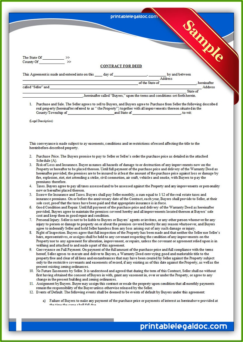 Free Printable Contract For Deed Forms