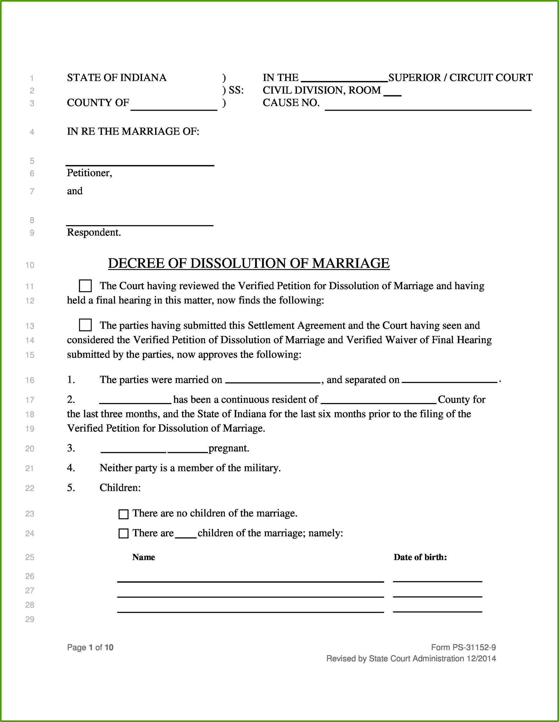 Free Printable No Fault Divorce Forms Mississippi