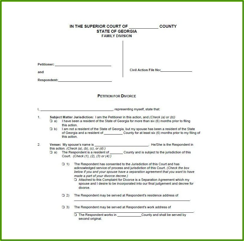 Free Printable No Fault Divorce Forms