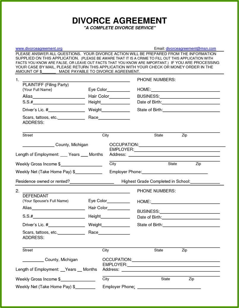 Free Printable Uncontested Divorce Forms Texas