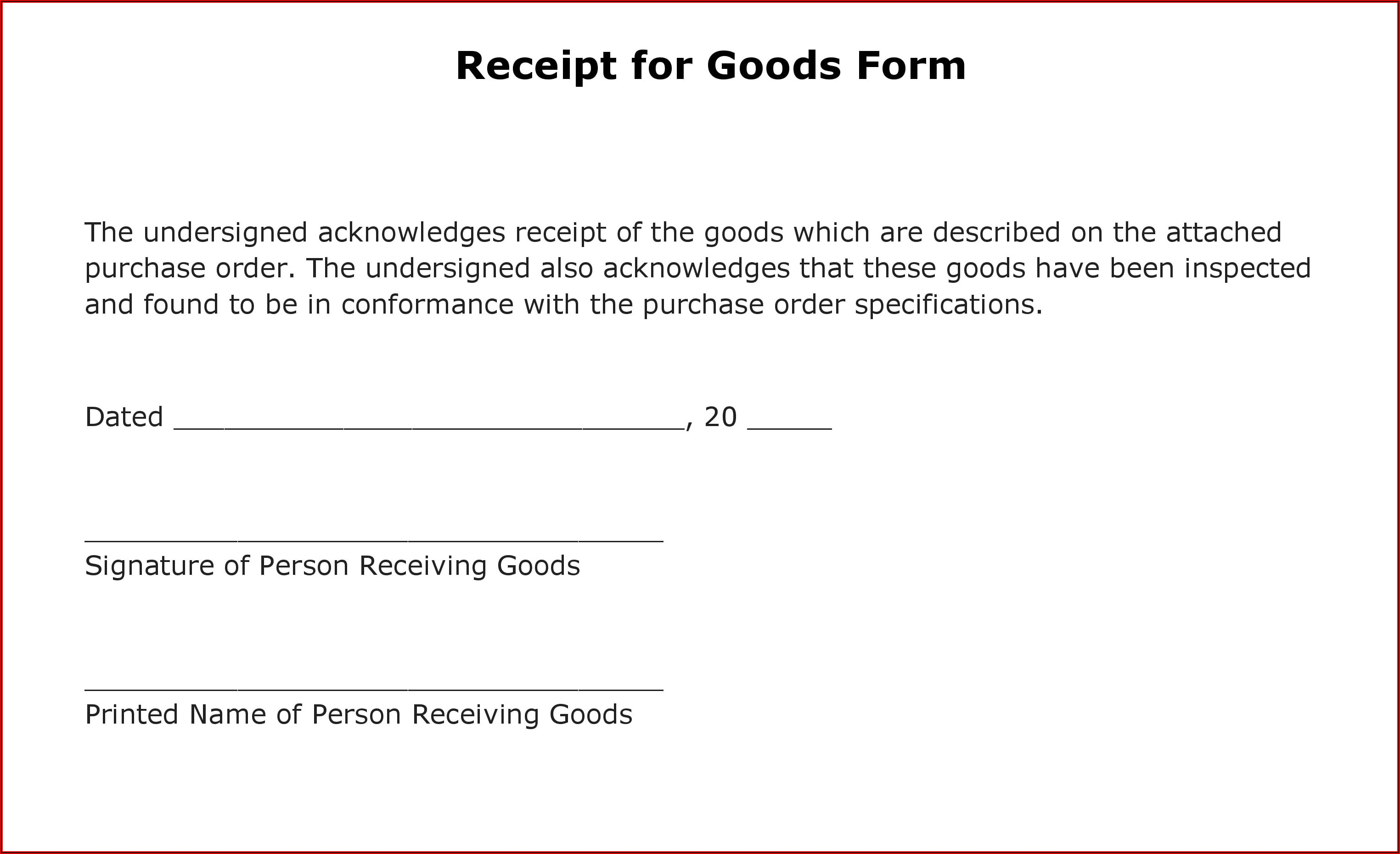 Free Receipt Form