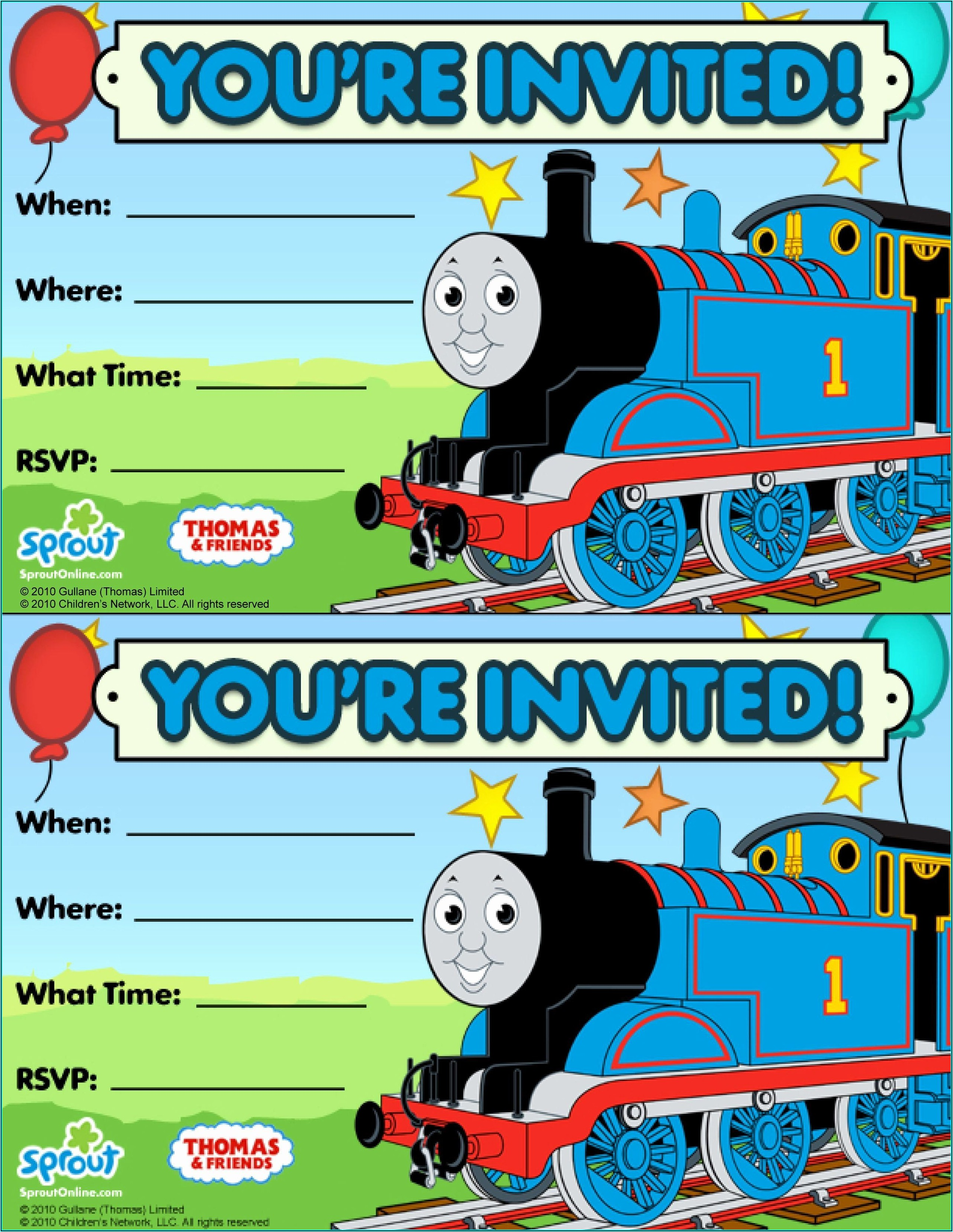 Free Train Party Invitation Template