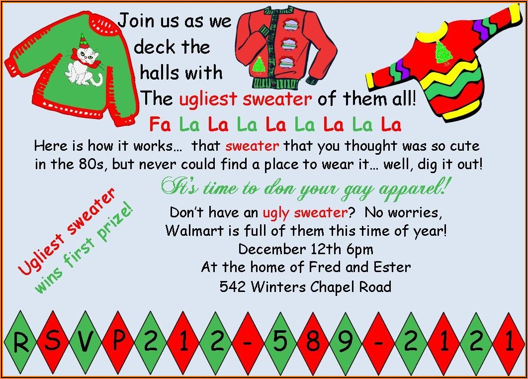 Free Ugly Christmas Sweater Party Invite Templates