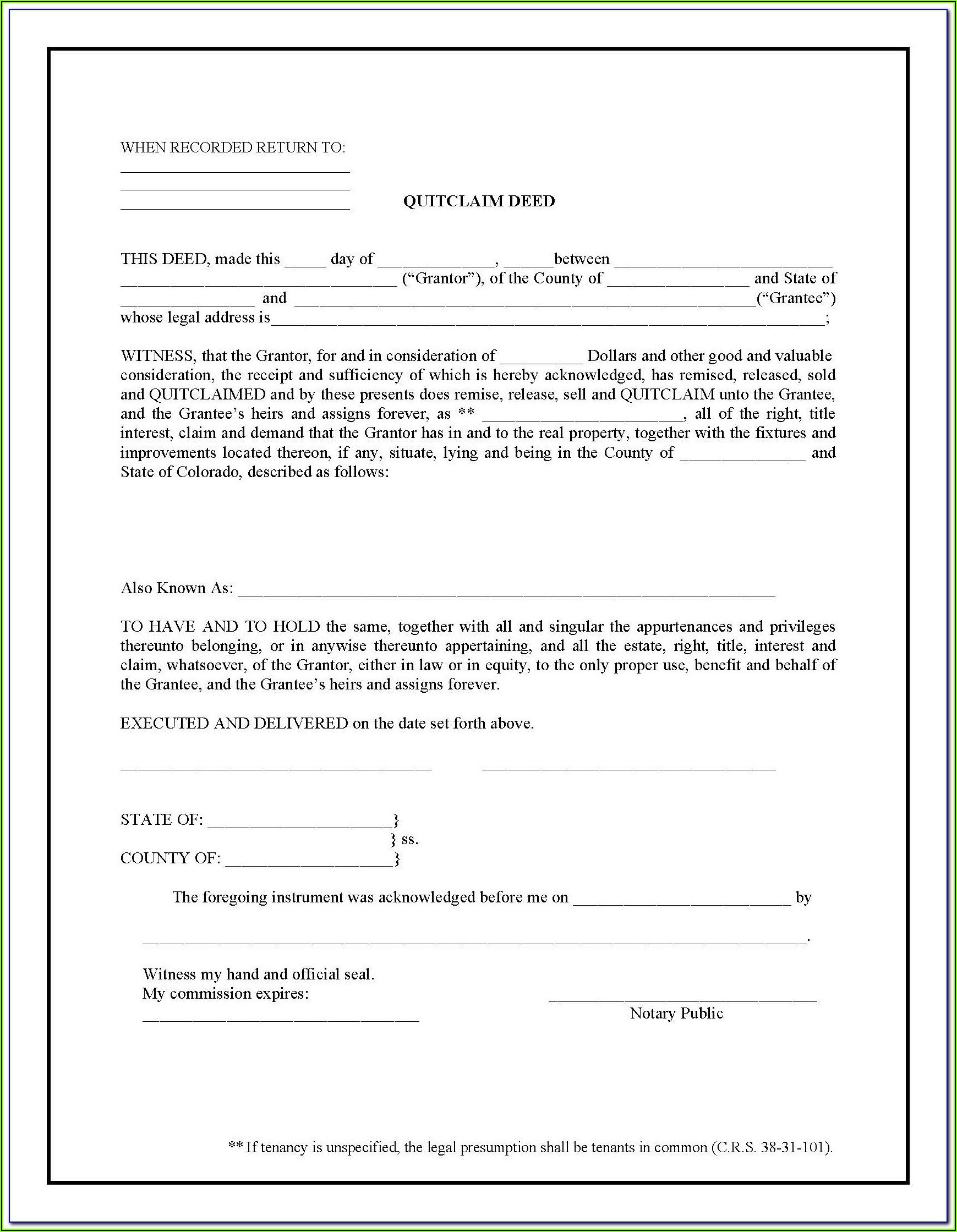 Free Wayne County Michigan Quit Claim Deed Form