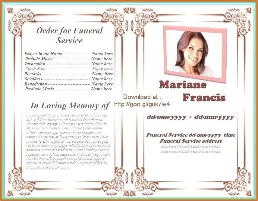 Funeral Order Of Service Booklet Template Free