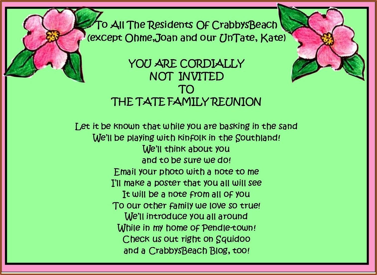 Funny Family Reunion Invitation Template