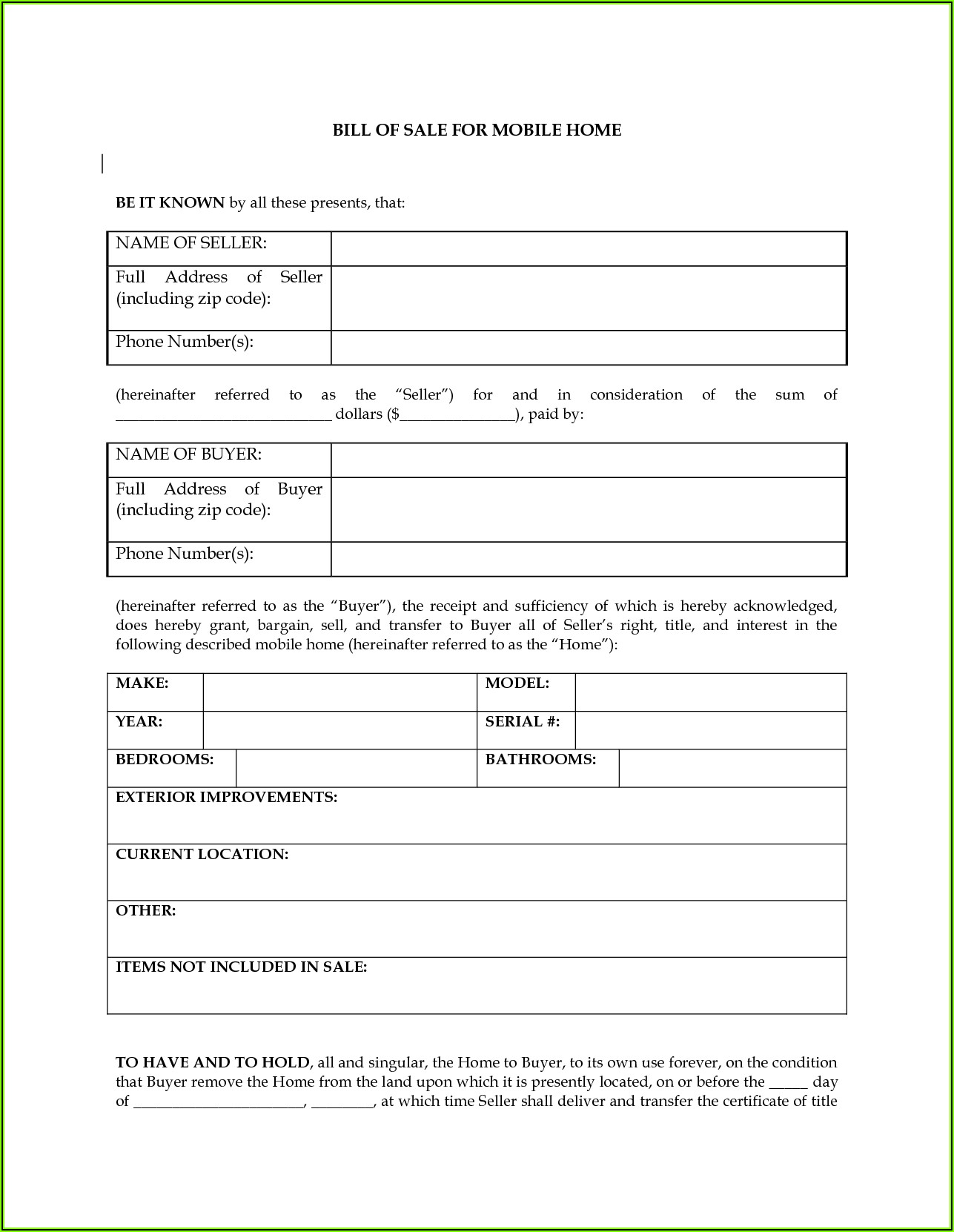 Generic Bill Of Sale Form Rv