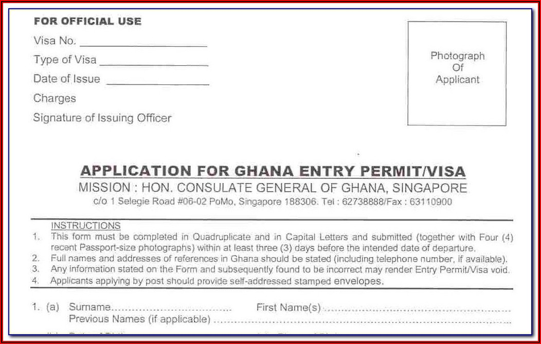 Ghanaian Passport Renewal Application Form Uk