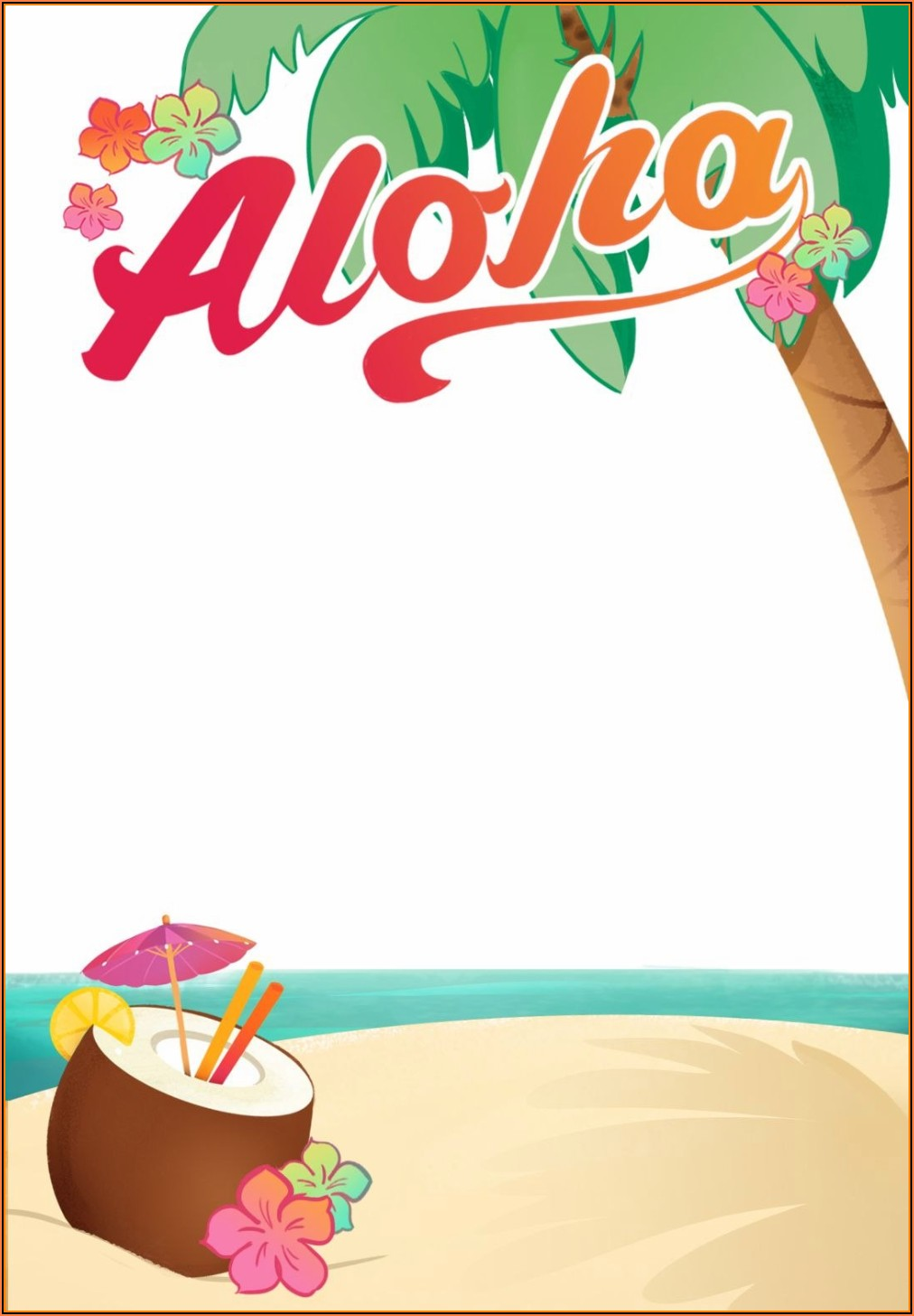 Hawaiian Luau Party Invitation Template Free