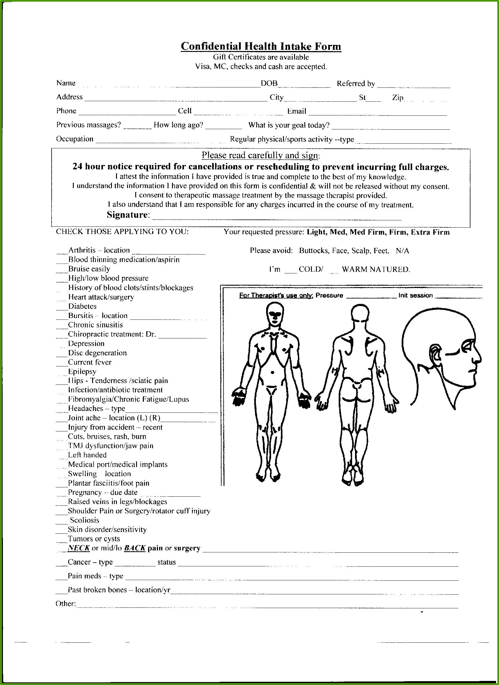 Health Intake Form Massage Therapy