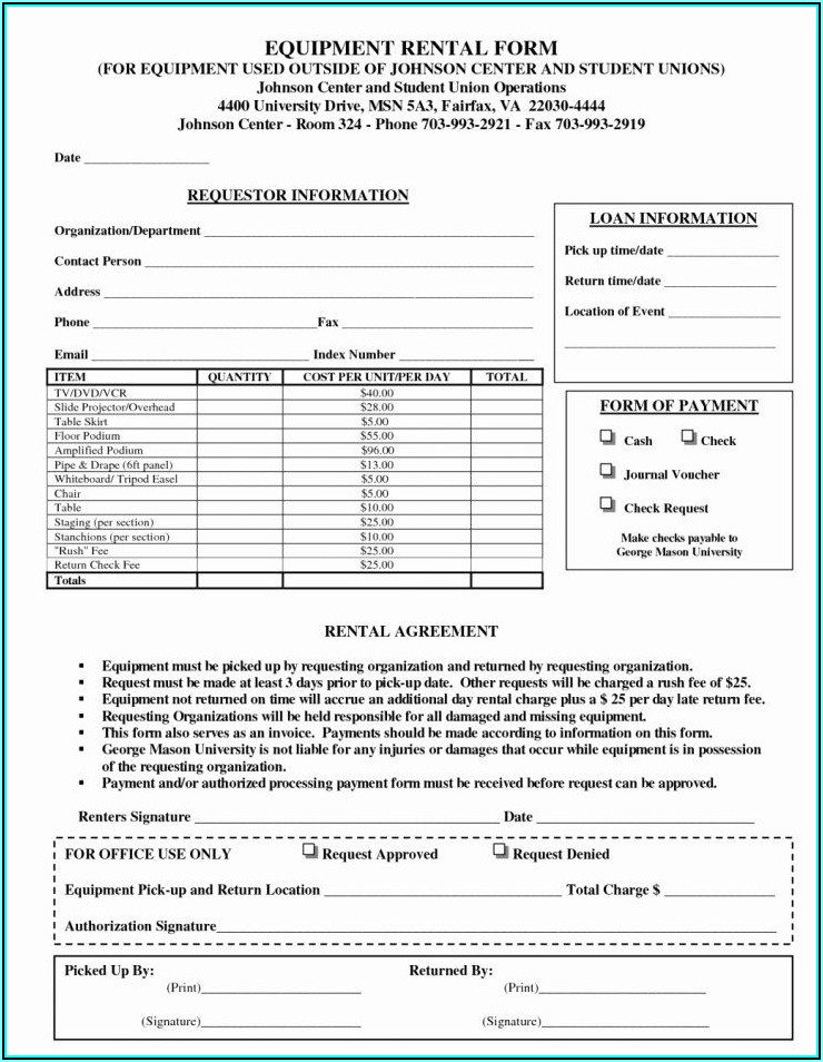 Heavy Equipment Rental Contract Template