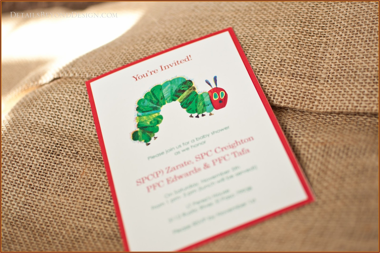 Hungry Caterpillar Invitation Template