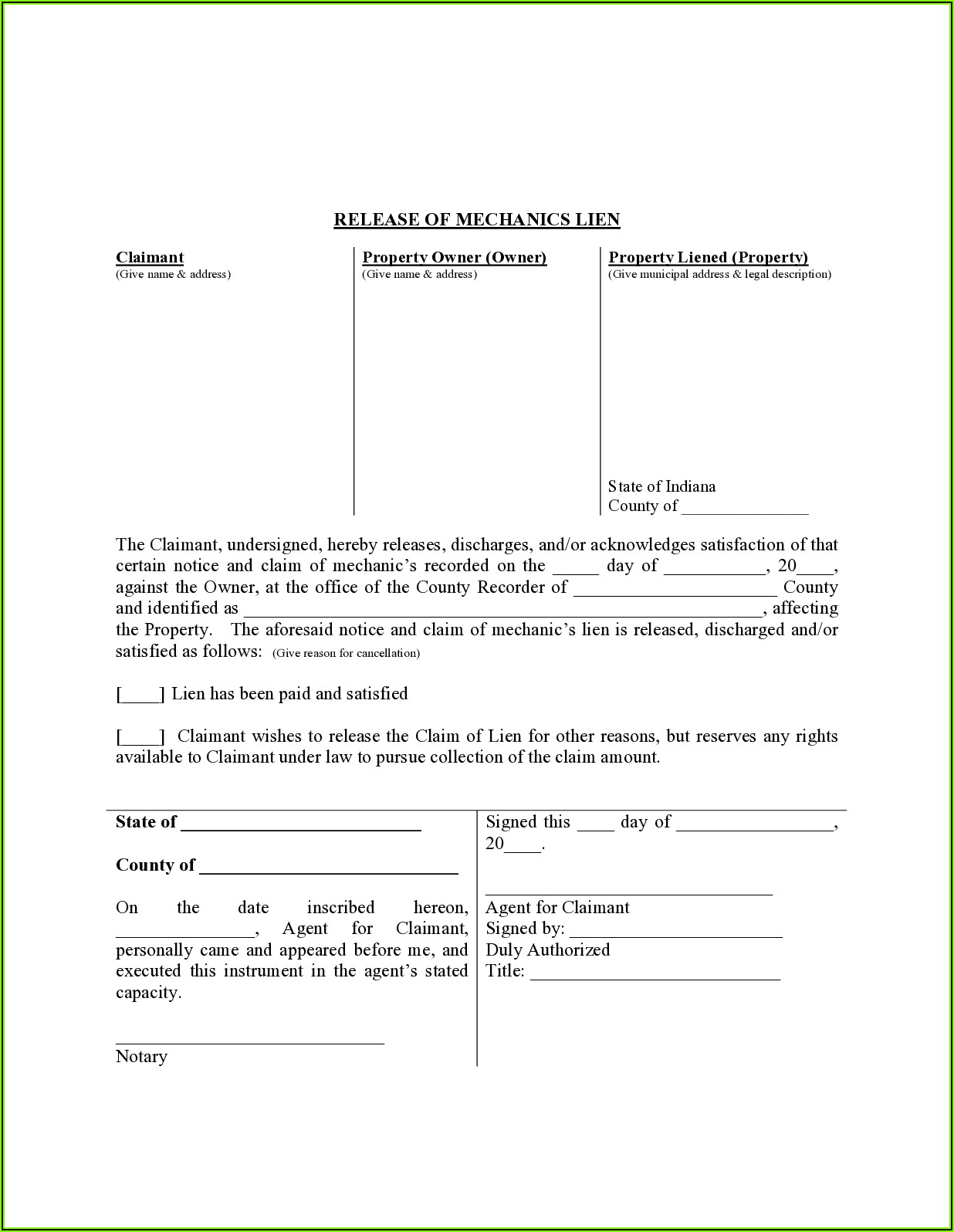 Indiana Conditional Lien Waiver Form