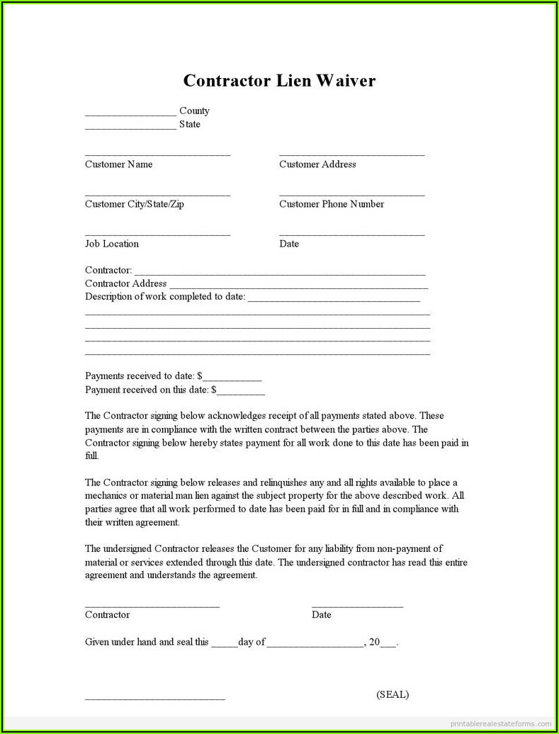 Indiana Contractor Lien Waiver Form