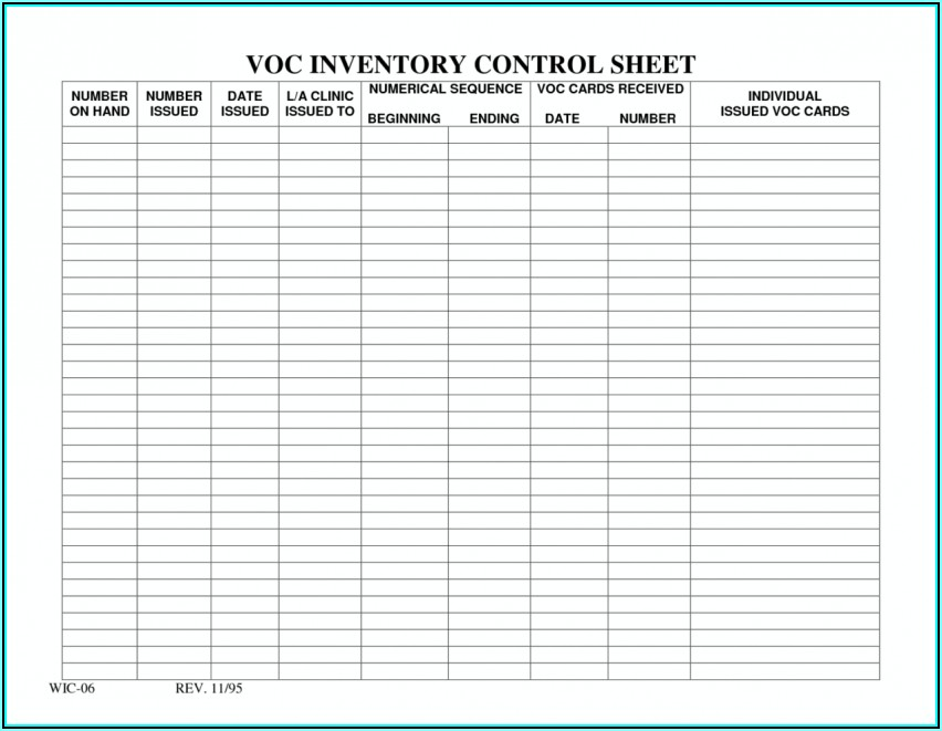 Inventory Forms Templates Free