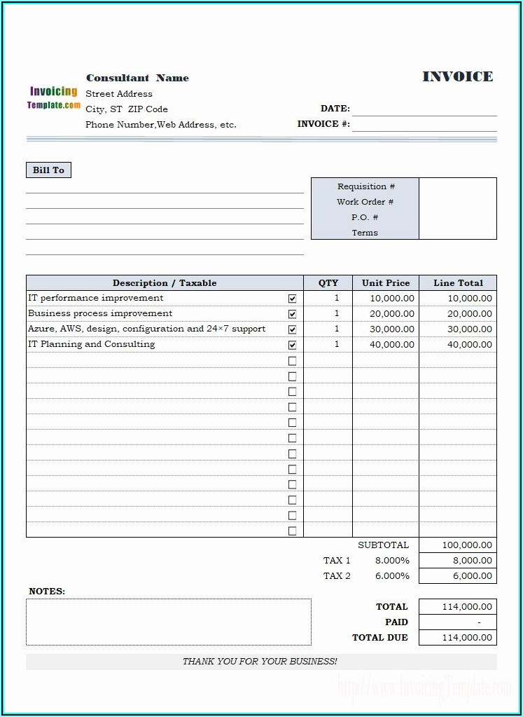 Invoice For Consulting Services Free Template
