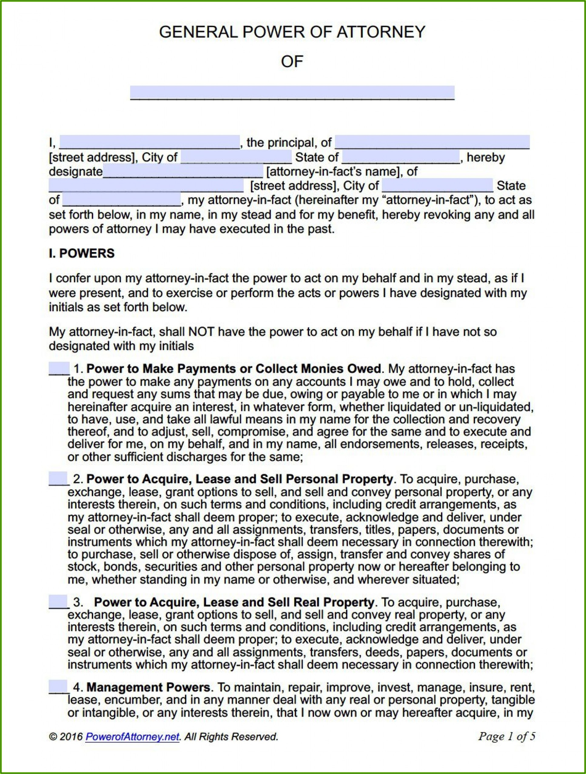 Irrevocable Power Of Attorney Sample