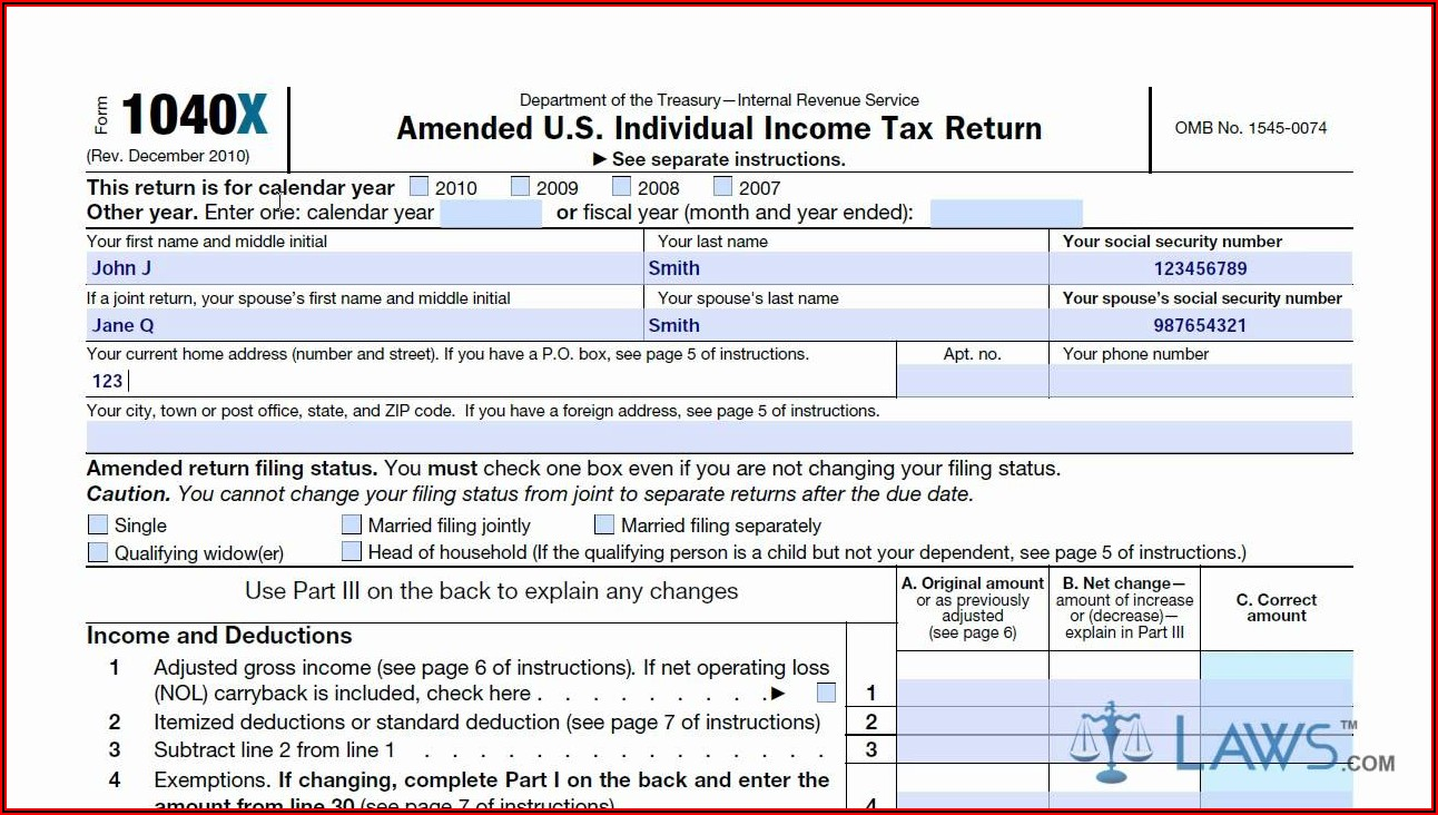 Irs Amendment Form 2018