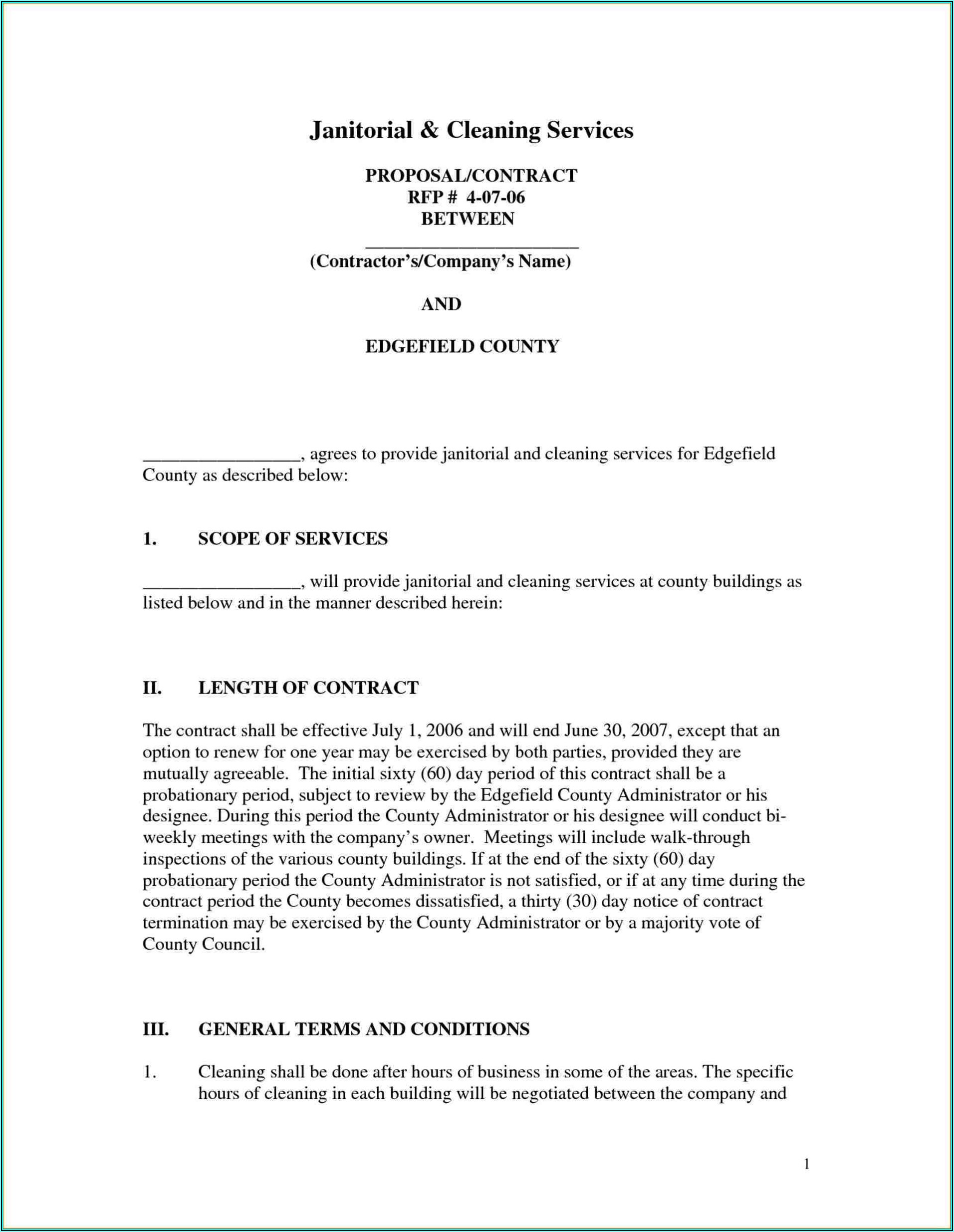 Janitorial Contracts Templates Free