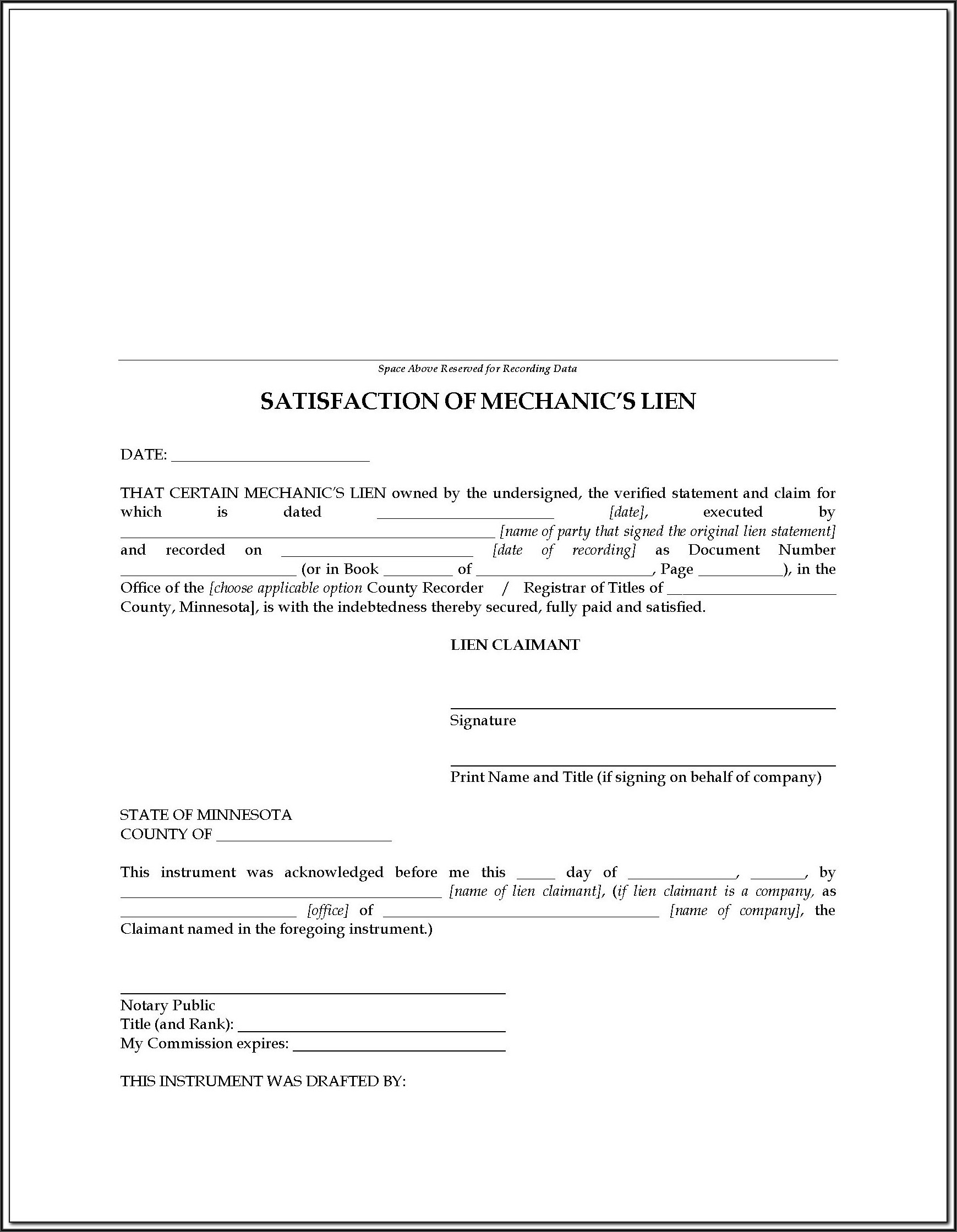 Kansas Construction Lien Release Form