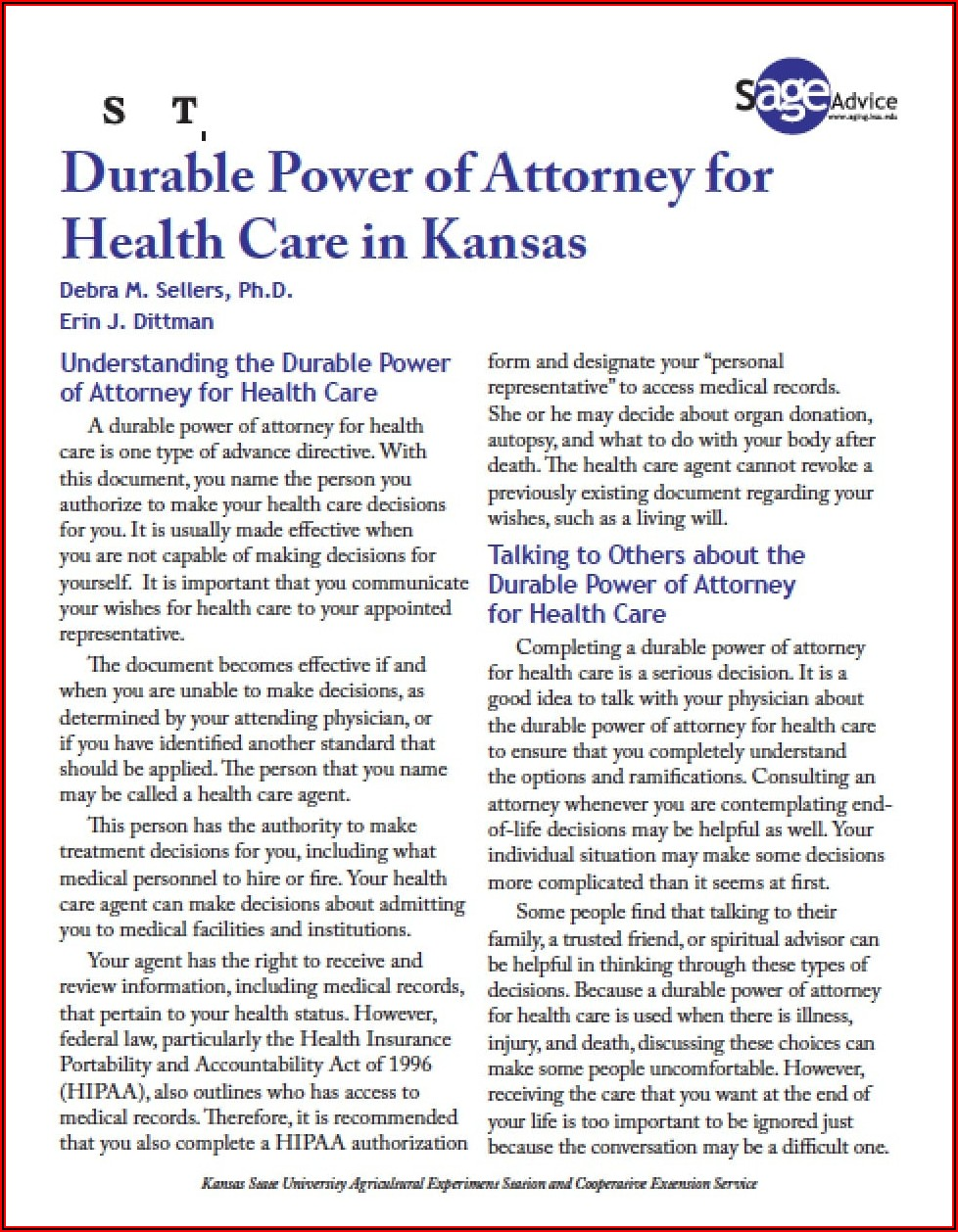Kansas Durable Financial Power Of Attorney Form