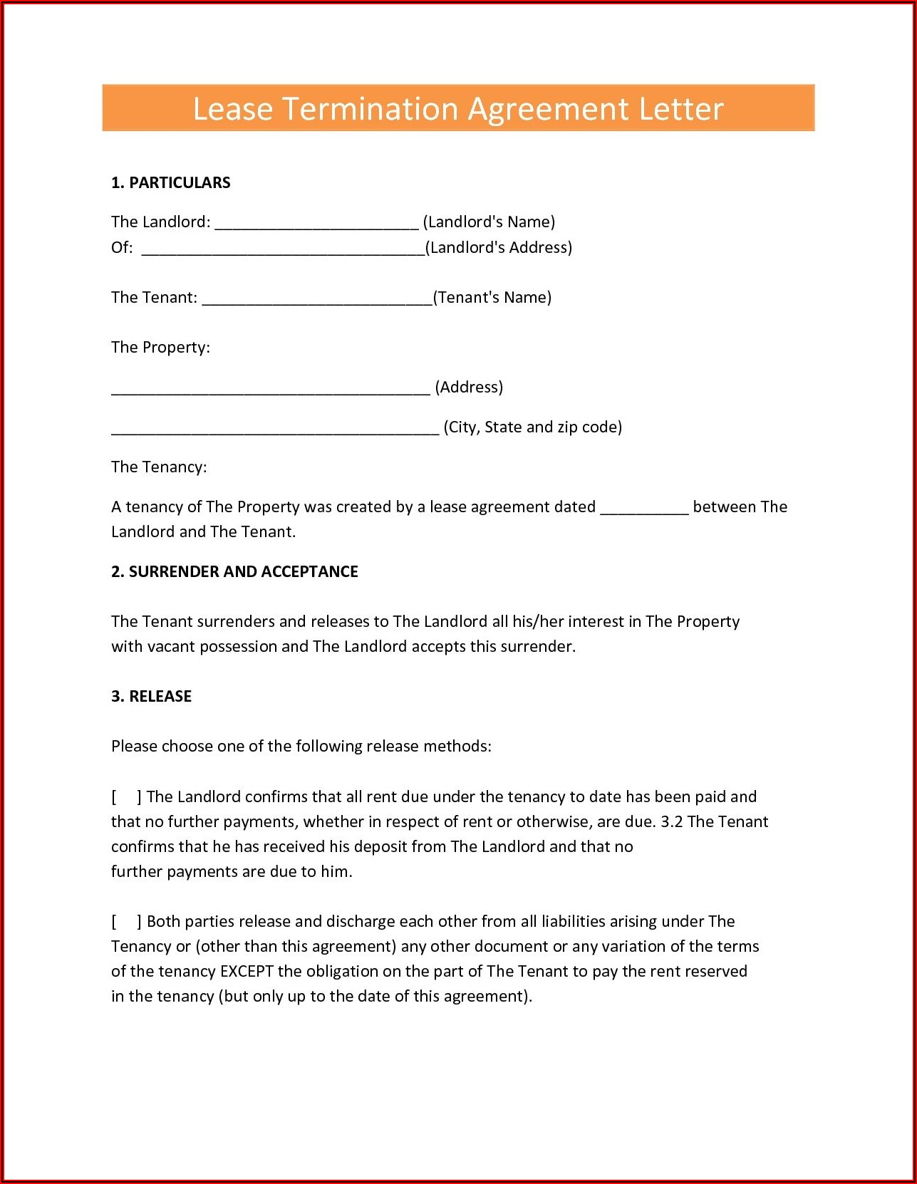 Landlord Sample Lease Termination Letter