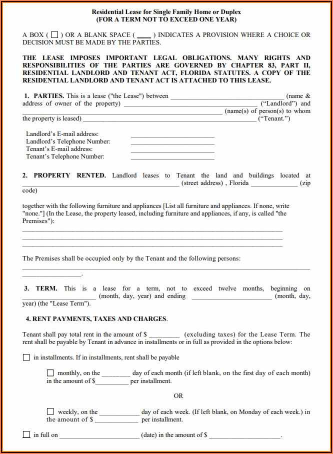 Lease Agreement Florida Form