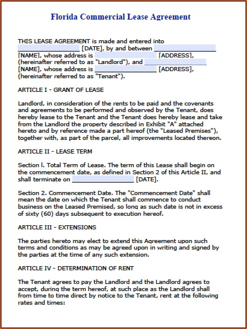 Lease Agreement Template Florida Pdf