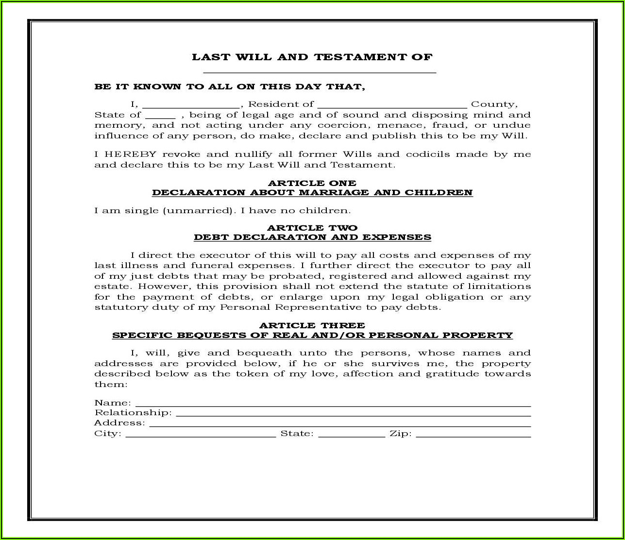 Legal Forms For Wills And Trusts