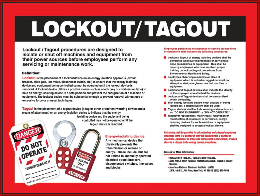 Lockout Tagout Forms Of Energy