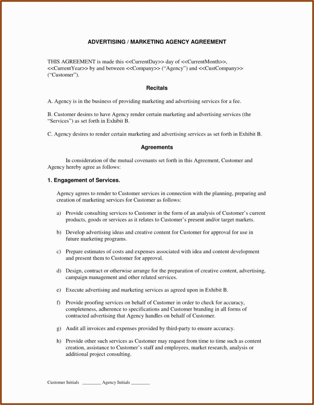 Marketing Agreement Template Free