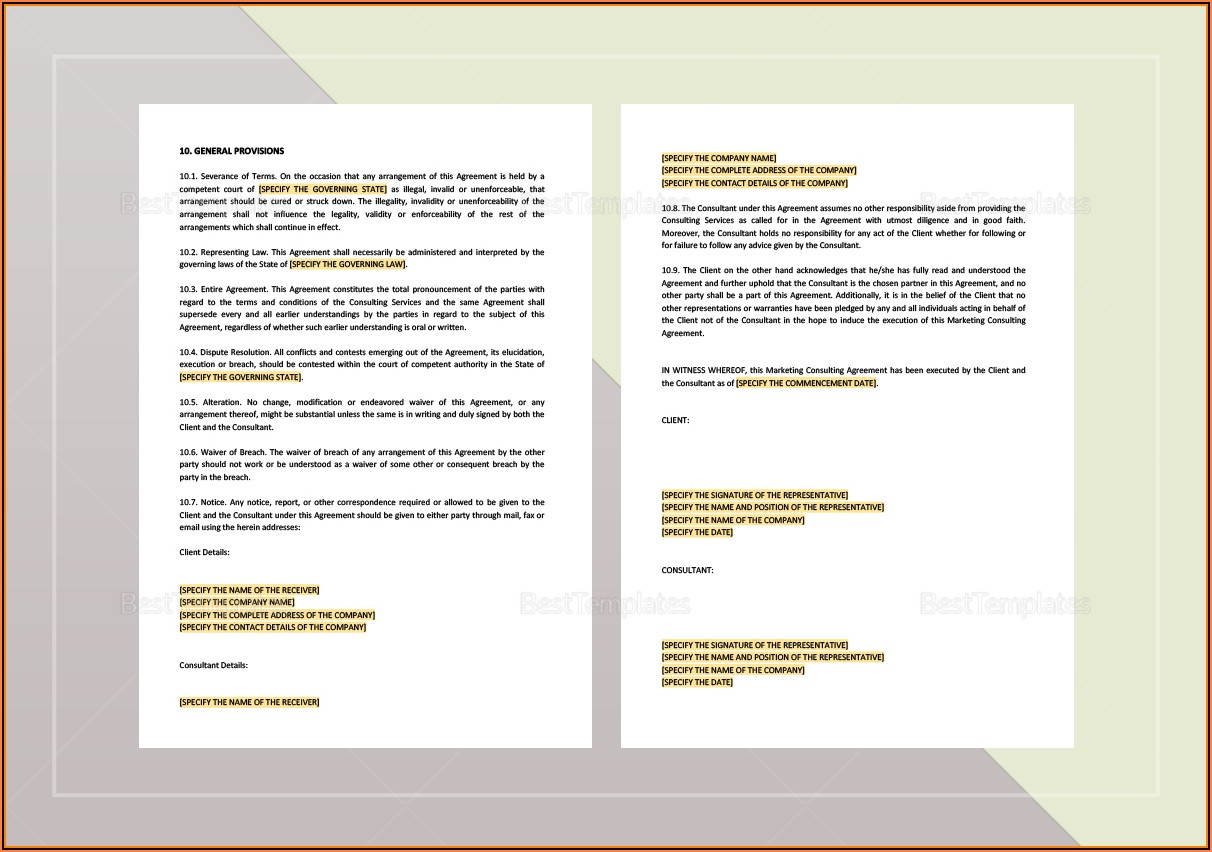 Marketing Agreement Template Word