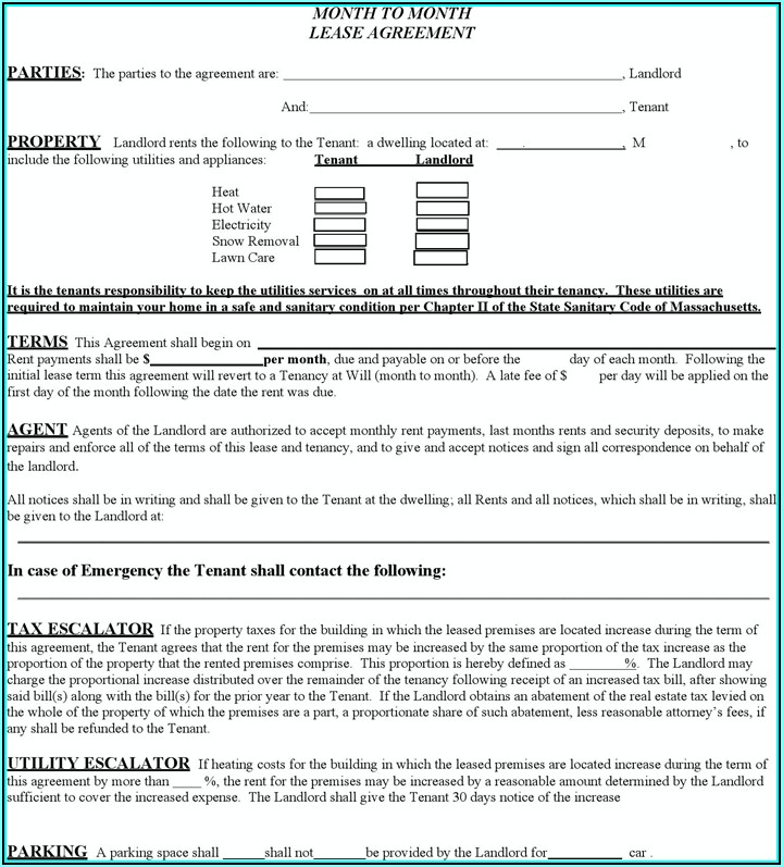 Massachusetts Rental Lease Template