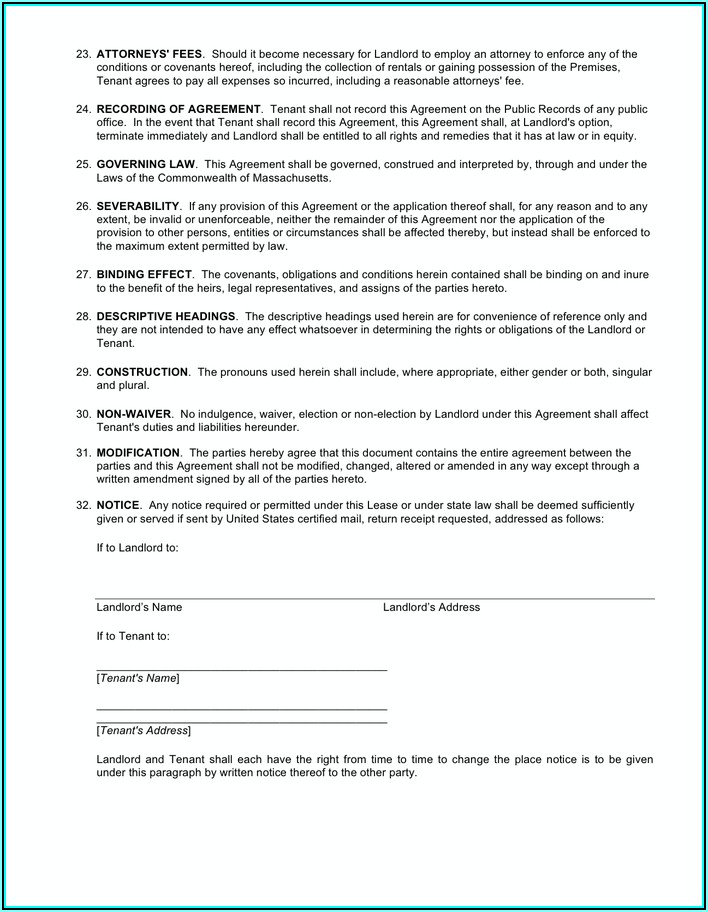 Massachusetts Residential Lease Agreement Template
