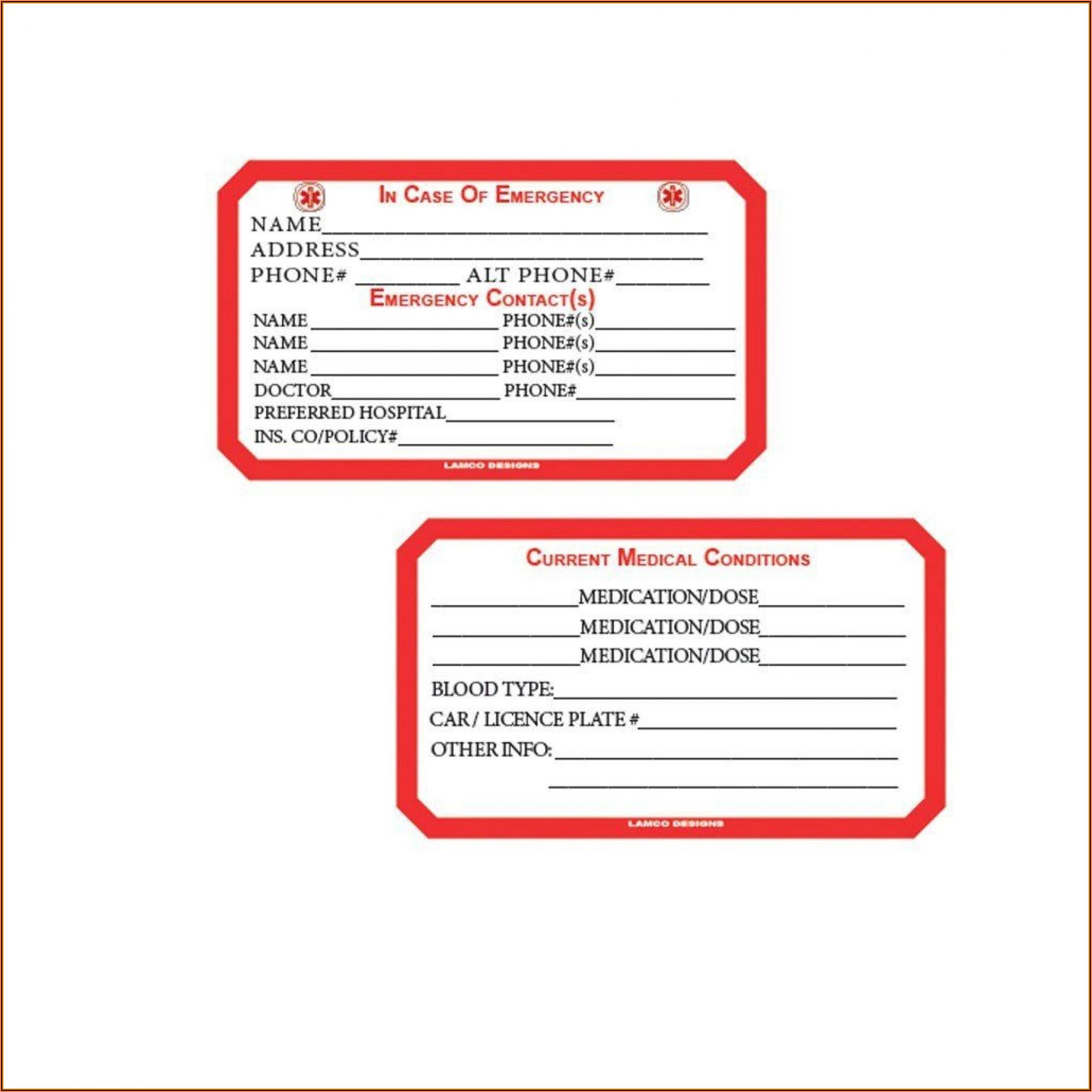 Medical Alert Wallet Card Template Canada