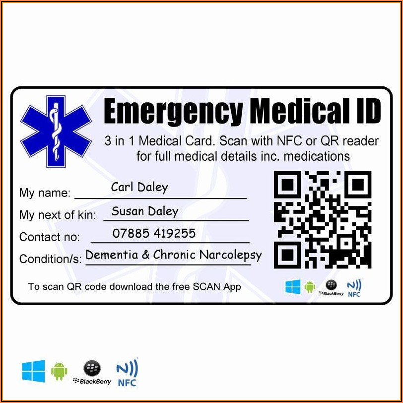 Medical Information Wallet Card Template