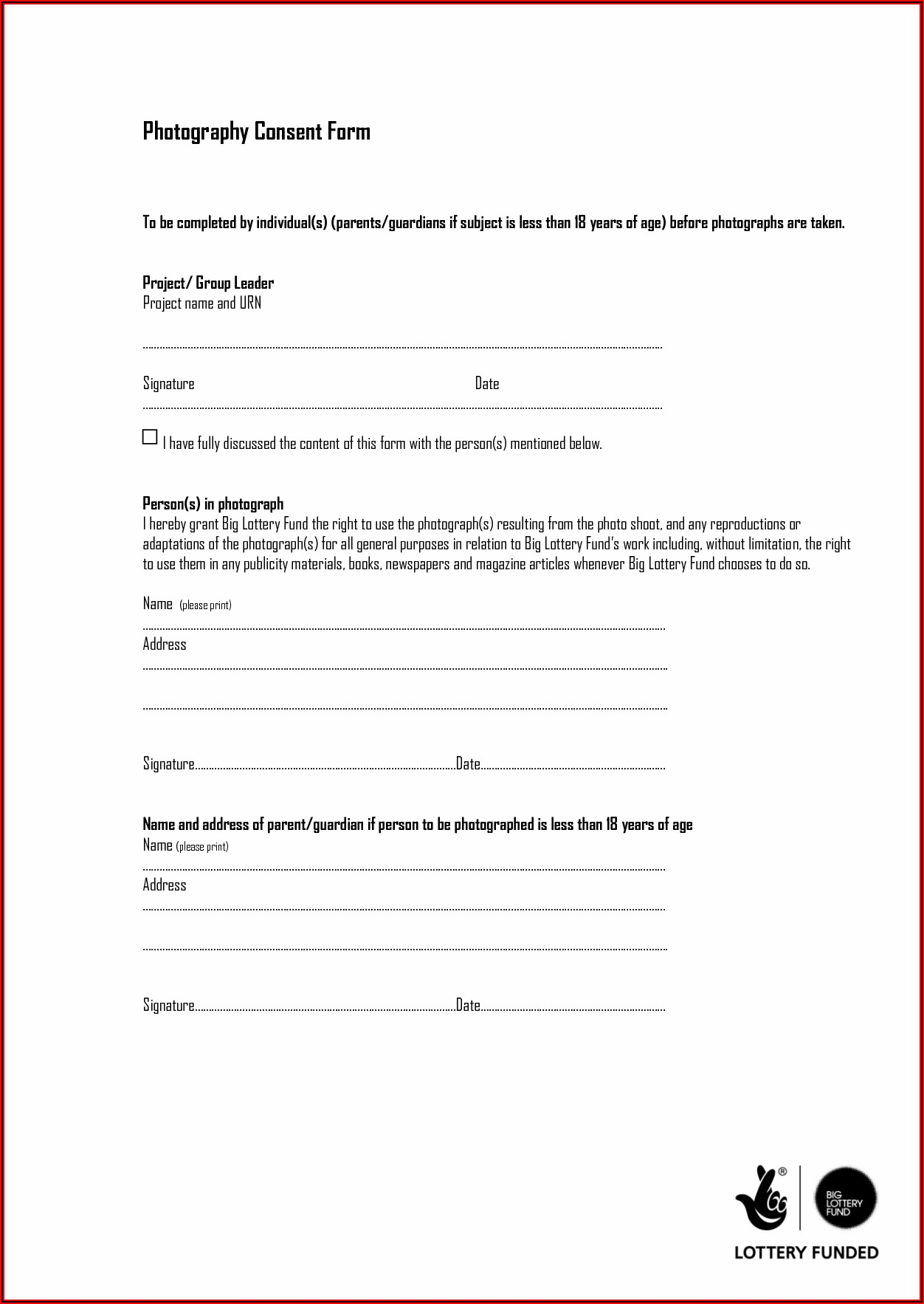 Medical Photography Consent Form Template