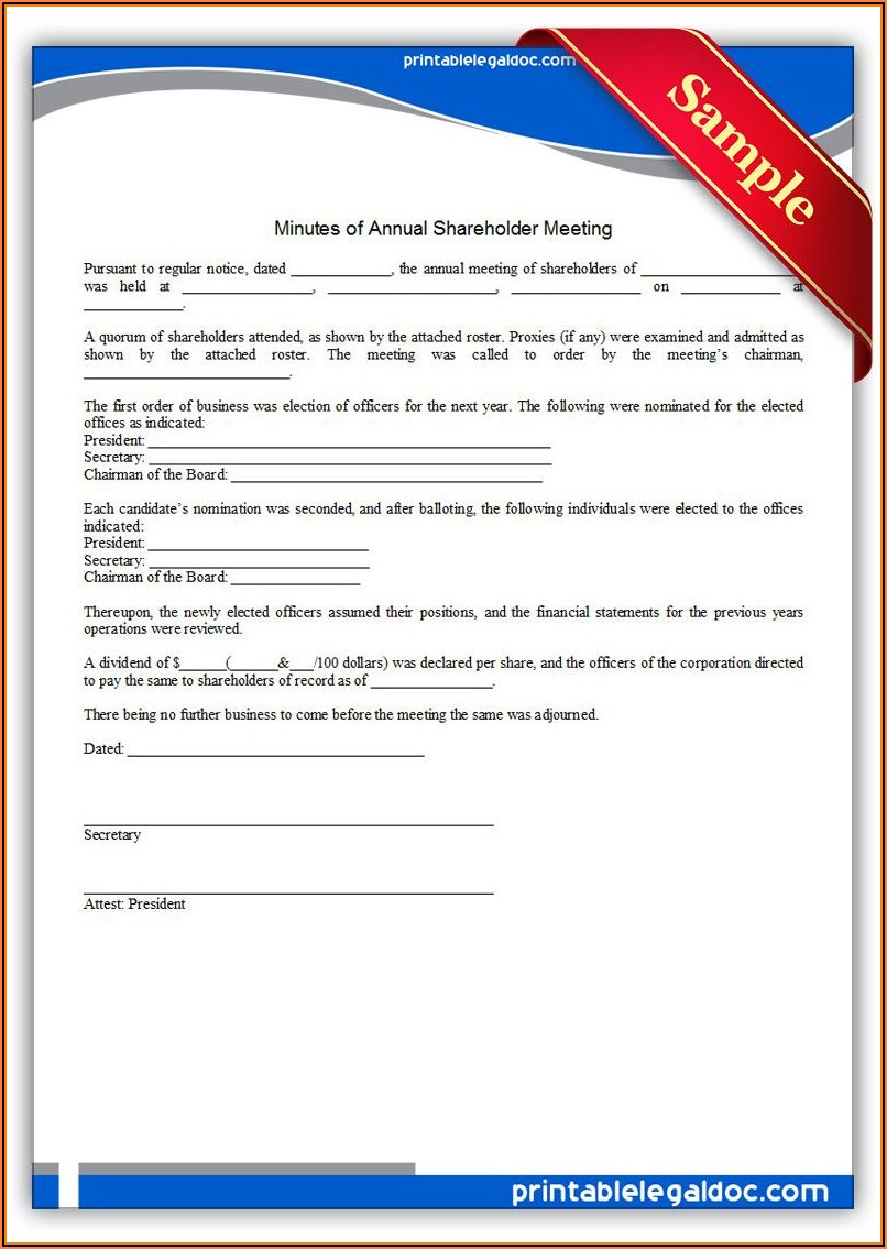 Minutes Of Annual Meeting Of Shareholders Template