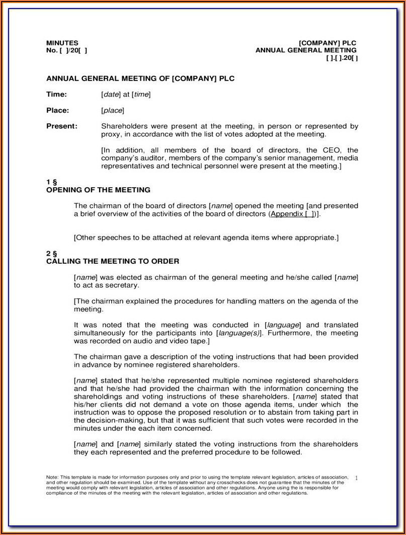 Minutes Of Shareholders Meeting Template