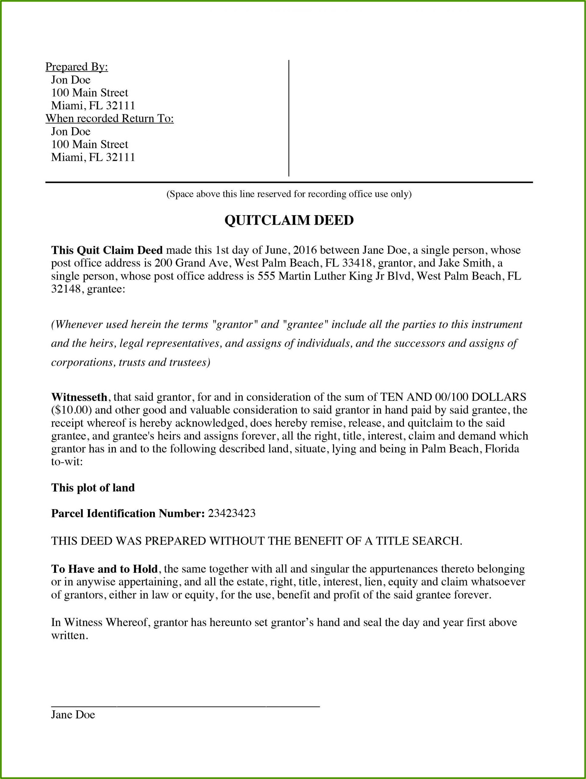 Missouri Quick Claim Deed Form