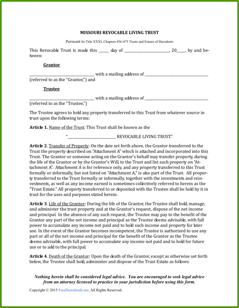Missouri Quit Claim Deed Template