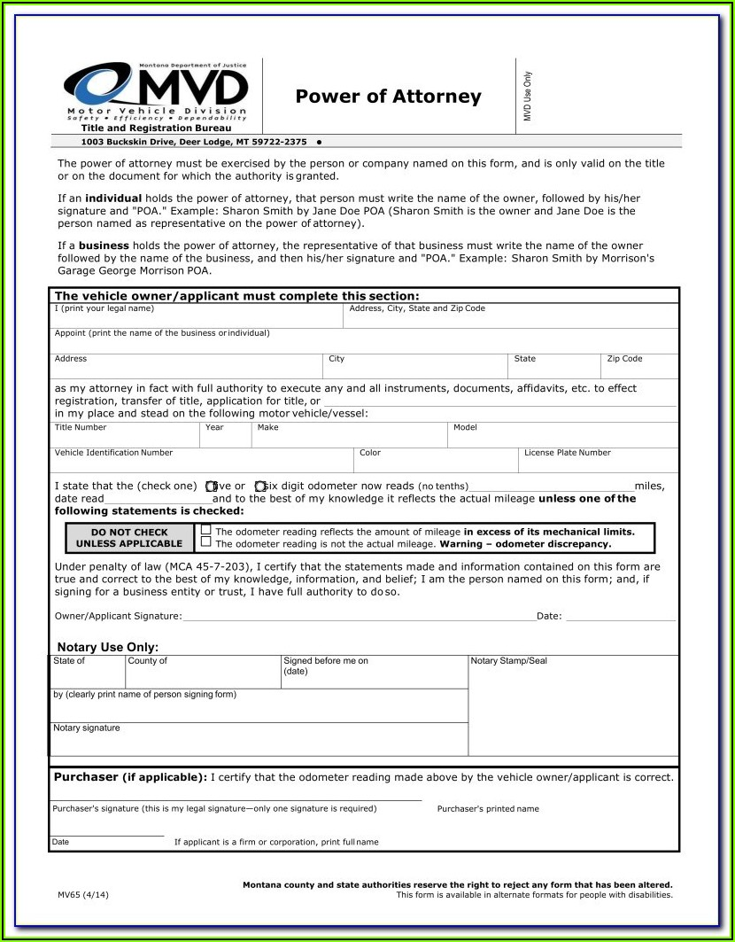 Montana Code Annotated 2011 Statutory Form Power Of Attorney
