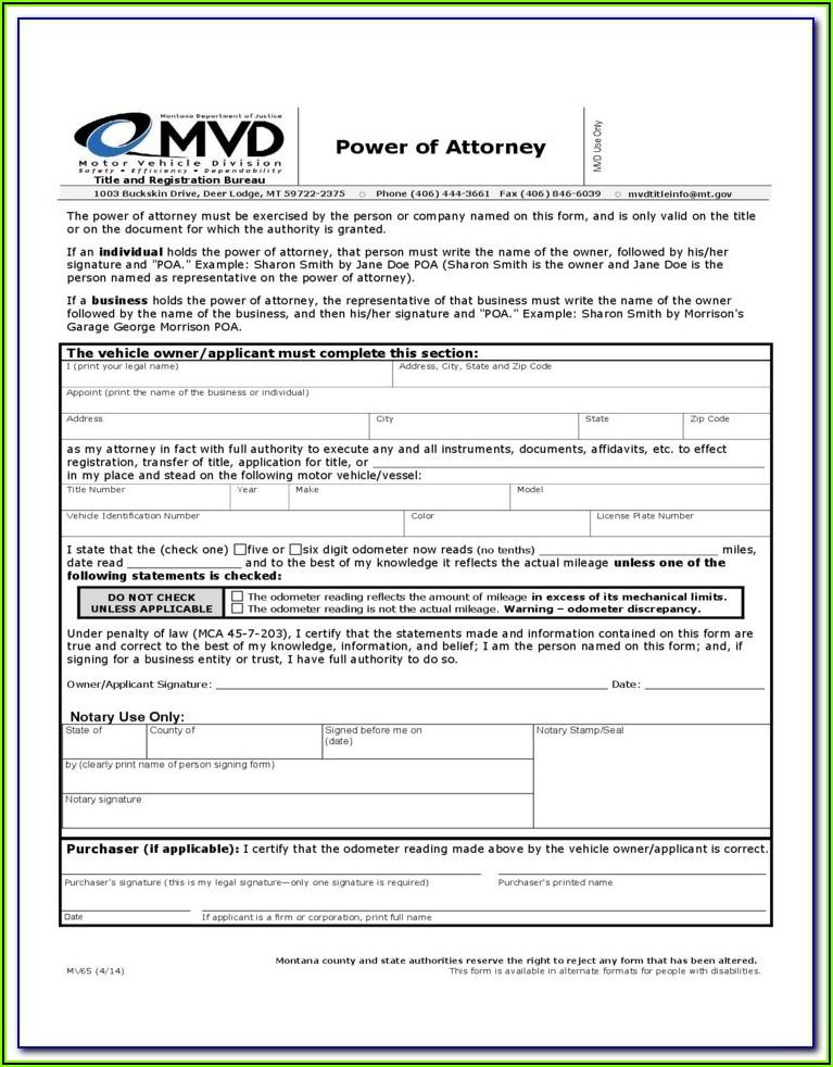 Montana Statutory Power Of Attorney Form