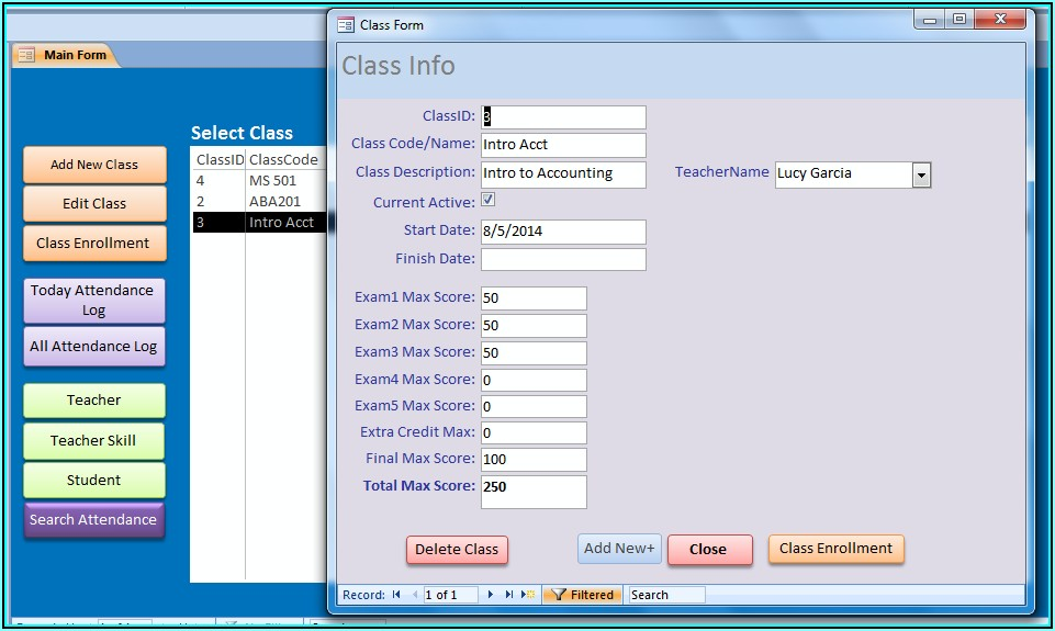 Ms Access Student Attendance Database Template