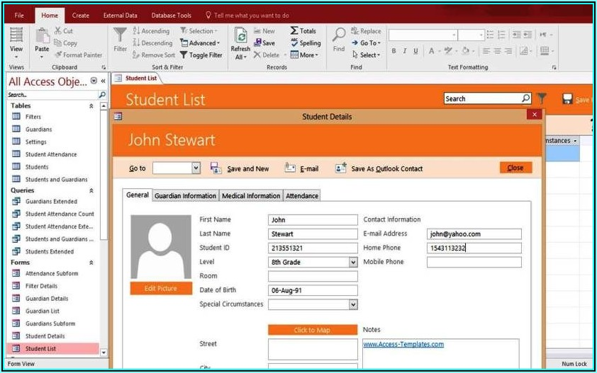 Ms Access Student Database Template Download