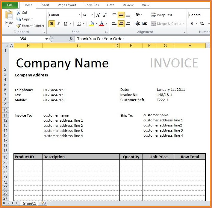 Ms Word Sales Invoice Template