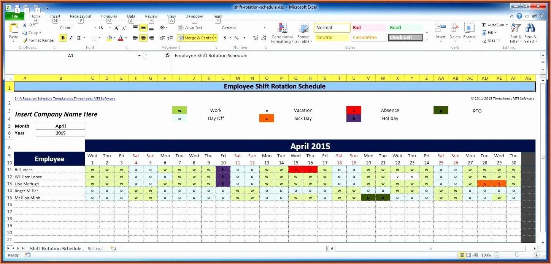 Multiple Employee Schedule Template